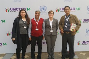 Serena Abi Khalil, Arab NGO Network on Development; Abdul Khaliq, CADTM Pakistan; Kristina Rehbein, erlassjahr.de und Vladimir Soria Freire, Jubileo Ecuador